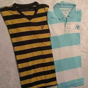 American Eagle striped V-neck & Aeropostale polo